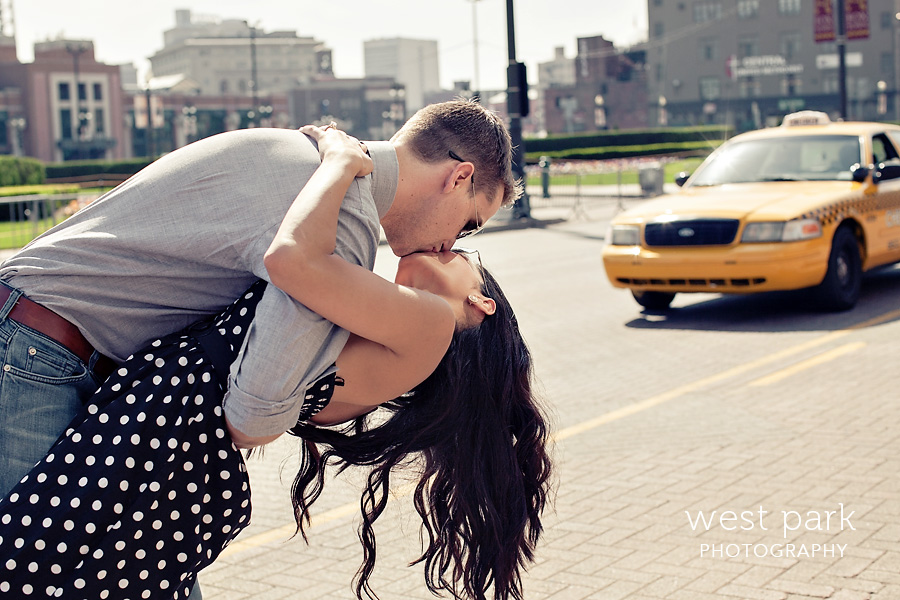 detroit engagement session fox 3 Crystal & Sam | Downtown Detroit Engagement