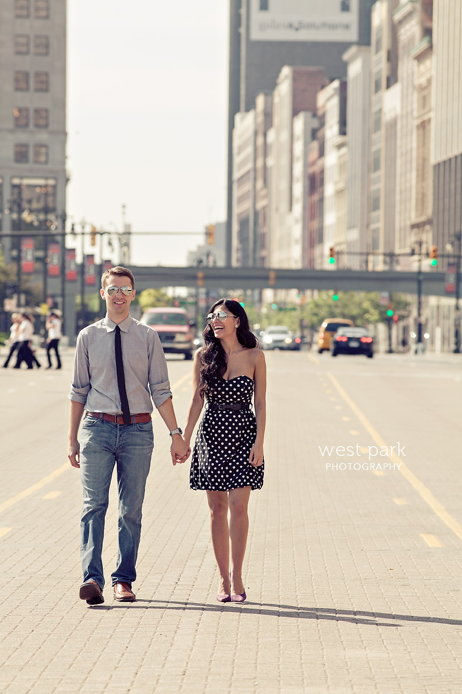 detroit engagement session fox 5 Crystal & Sam | Downtown Detroit Engagement