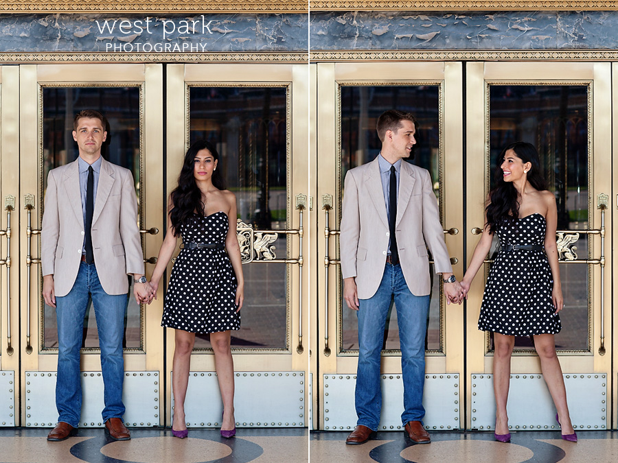 detroit engagement session fox Crystal & Sam | Downtown Detroit Engagement