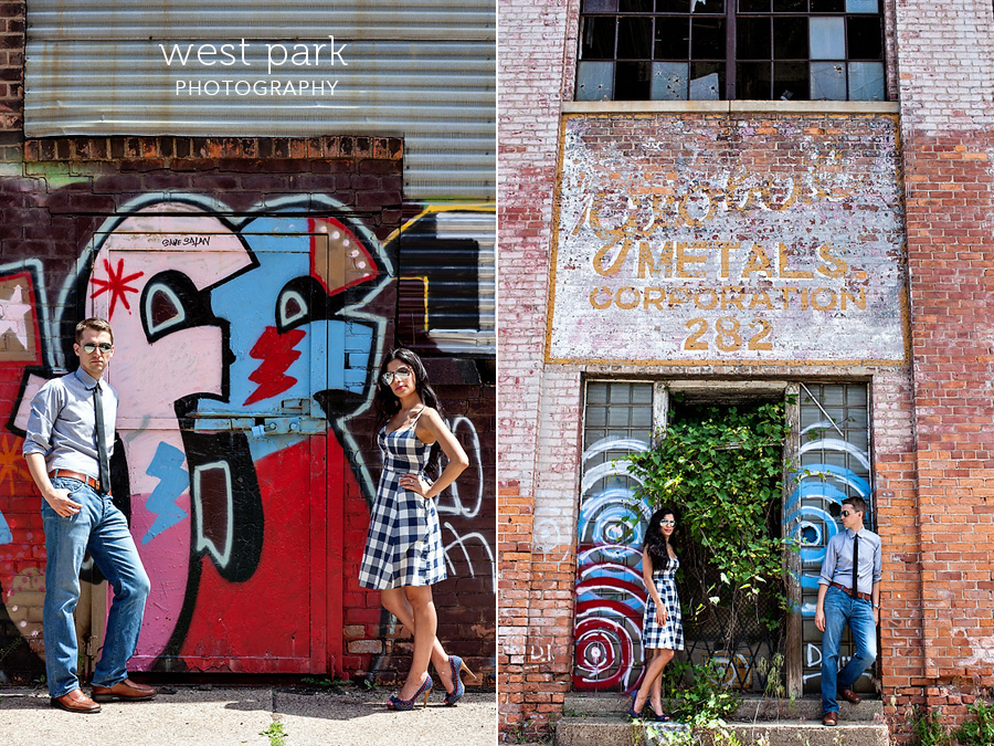 detroit engagement session grunge 11 Crystal & Sam | Downtown Detroit Engagement